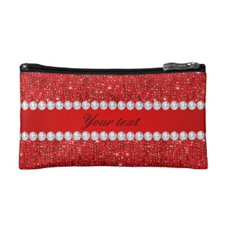 Glamorous Faux Red Sequins and Diamonds Cosmetics Bags