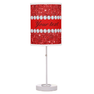 Glamorous Faux Red Sequins and Diamonds Desk Lamps