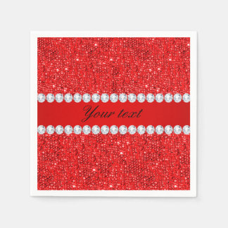 Glamorous Faux Red Sequins and Diamonds Disposable Napkin