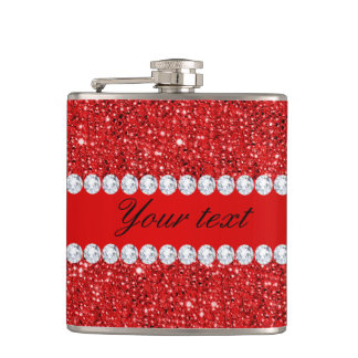 Glamorous Faux Red Sequins and Diamonds Hip Flask