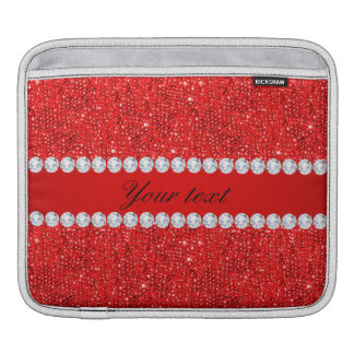 Glamorous Faux Red Sequins and Diamonds iPad Sleeve