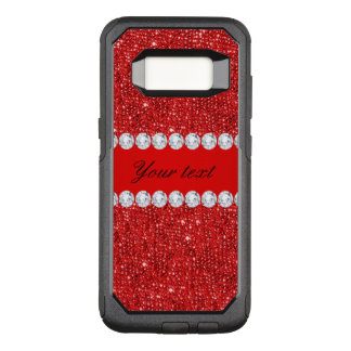 Glamorous Faux Red Sequins and Diamonds OtterBox Commuter Samsung Galaxy S8 Case