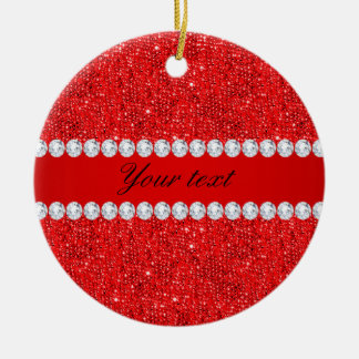 Glamorous Faux Red Sequins and Diamonds Round Ceramic Ornament