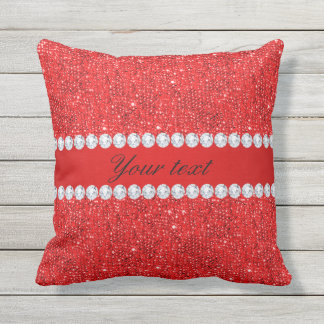 Glamorous Faux Red Sequins and Diamonds Throw Pillow