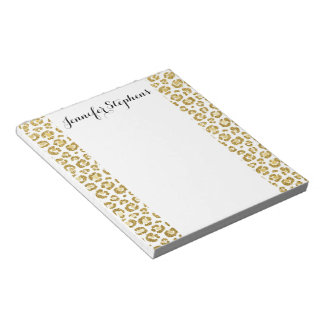 Glamorous Faux Sparkly Gold Leopard Notepad