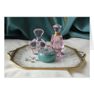Glamorous Glass perfume Bottles Greeting Card