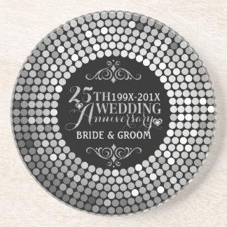 Glamorous Glitter 25th Wedding Anniversary 2 Coaster