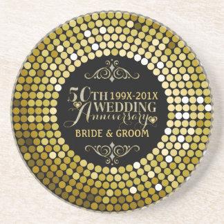 Glamorous Glitter 50th Wedding Anniversary 2 Drink Coasters
