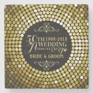 Glamorous Glitter 50th Wedding Anniversary 2 Stone Coaster