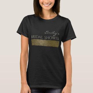 GLAMOROUS GOLD BACK MOSAIC BRIDAL SHOWER MONOGRAM T-Shirt