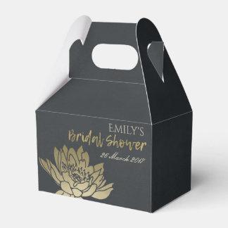 GLAMOROUS GOLD BLACK LOTUS FLORAL BRIDAL SHOWER FAVOR BOX
