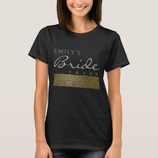 GLAMOROUS GOLD BLACK MOSAIC BRIDE SQUAD MONOGRAM T-Shirt