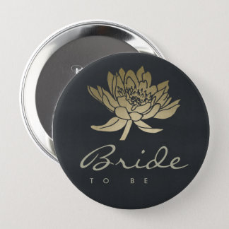 GLAMOROUS GOLD BLUE BLACK LOTUS FLORAL BRIDE TO BE 4 INCH ROUND BUTTON