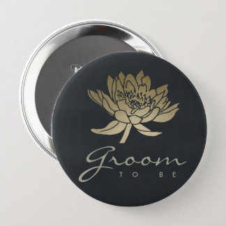 GLAMOROUS GOLD BLUE BLACK LOTUS FLORAL GROOM TO BE 4 INCH ROUND BUTTON
