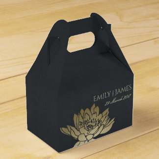 GLAMOROUS GOLD BLUE BLACK LOTUS FLORAL MONOGRAM FAVOR BOX