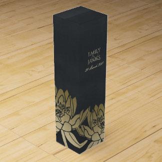 GLAMOROUS GOLD BLUE BLACK LOTUS FLORAL MONOGRAM WINE BOX