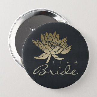 GLAMOROUS GOLD BLUE BLACK LOTUS FLORAL TEAM BRIDE 4 INCH ROUND BUTTON