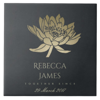 GLAMOROUS GOLD BLUE BLACK LOTUS SAVE THE DATE GIFT TILE