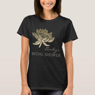 GLAMOROUS GOLD BLUE LOTUS BRIDAL SHOWER MONOGRAM T-Shirt