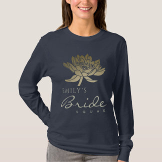GLAMOROUS GOLD BLUE LOTUS BRIDE SQUAD MONOGRAM T-Shirt