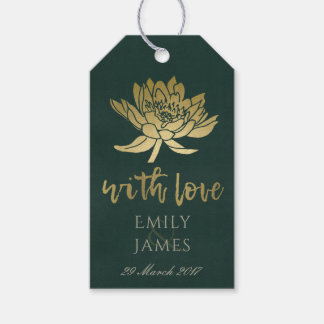 GLAMOROUS GOLD BOTTLE GREEN LOTUS FLORAL  MONOGRAM GIFT TAGS