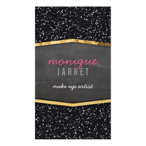 GLAMOROUS gold chalkboard panel glitter cool black Business Card