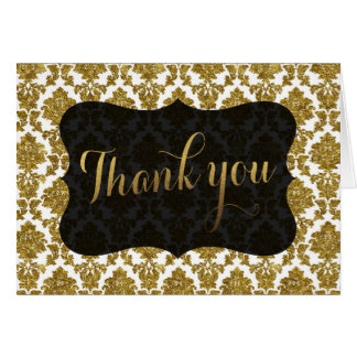 Glamorous Gold Damask Gold Foil Wedding THANK YOU Card
