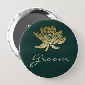 GLAMOROUS GOLD DARK GREEN  LOTUS FLORAL GROOM 4 INCH ROUND BUTTON