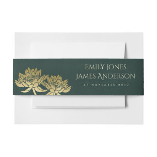 GLAMOROUS GOLD DARK GREEN  LOTUS FLORAL MONOGRAM INVITATION BELLY BAND