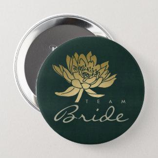 GLAMOROUS GOLD DARK GREEN  LOTUS FLORAL TEAM BRIDE 4 INCH ROUND BUTTON