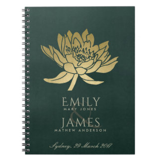 GLAMOROUS GOLD DARK GREEN  LOTUS FLORAL WEDDING NOTEBOOKS