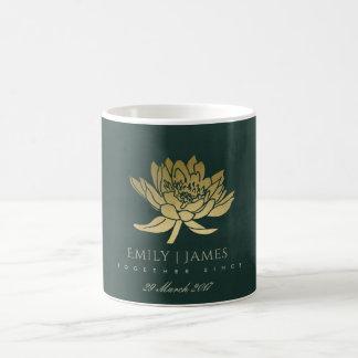 GLAMOROUS GOLD DARK GREEN LOTUS SAVE THE DATE GIFT COFFEE MUG