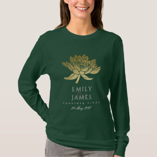 GLAMOROUS GOLD DARK GREEN LOTUS SAVE THE DATE GIFT T-Shirt