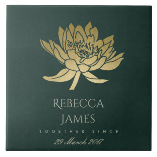 GLAMOROUS GOLD DARK GREEN LOTUS SAVE THE DATE GIFT TILE