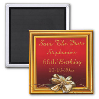 Glamorous Gold Frame & Faux Bow 65th Birthday Square Magnet