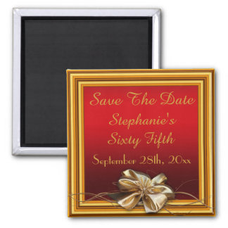 Glamorous Gold Frame & Faux Bow Sixty Fifth Refrigerator Magnet