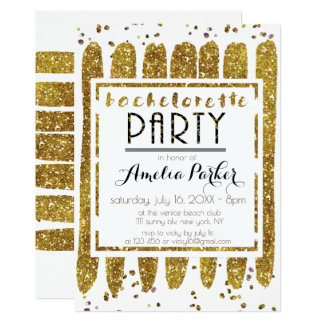 Glamorous Gold Glittering Bachelorette Party Card