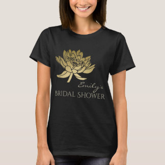GLAMOROUS GOLD GREEN  LOTUS BRIDAL SHOWER MONOGRAM T-Shirt