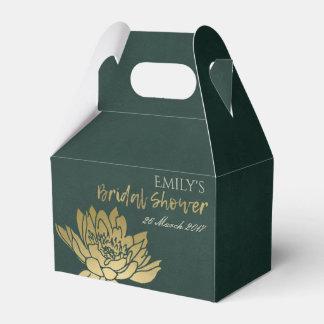 GLAMOROUS GOLD GREEN LOTUS FLORAL BRIDAL SHOWER FAVOR BOX