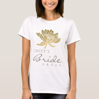 GLAMOROUS GOLD LOTUS BRIDE SQUAD MONOGRAM T-Shirt