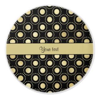 Glamorous Gold Polka Dots Black Ceramic Knob