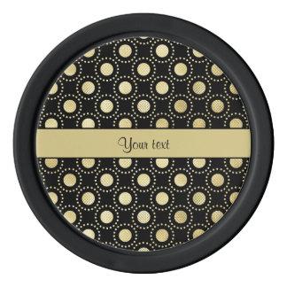 Glamorous Gold Polka Dots Black Poker Chips