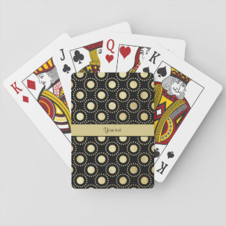 Glamorous Gold Polka Dots Black Poker Deck