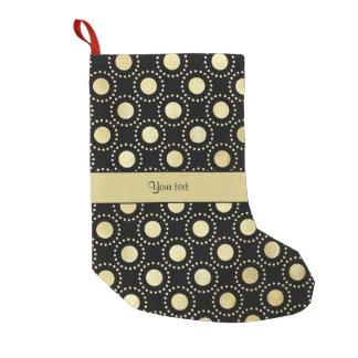 Glamorous Gold Polka Dots Black Small Christmas Stocking