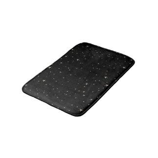 Glamorous Gold Stars on Black Background Bath Mat