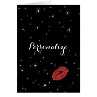 Glamorous Gold Stars with Red Lipstick Kiss Card