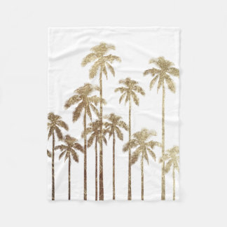 Glamorous Gold Tropical Palm Trees on White Fleece Blanket