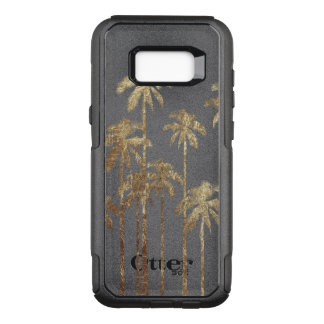 Glamorous Gold Tropical Palm Trees on White OtterBox Commuter Samsung Galaxy S8+ Case