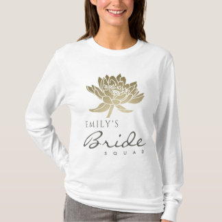 GLAMOROUS GOLD WHITE LOTUS BRIDE SQUAD MONOGRAM T-Shirt