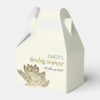 GLAMOROUS GOLD WHITE LOTUS FLORAL BRIDAL SHOWER FAVOR BOX
